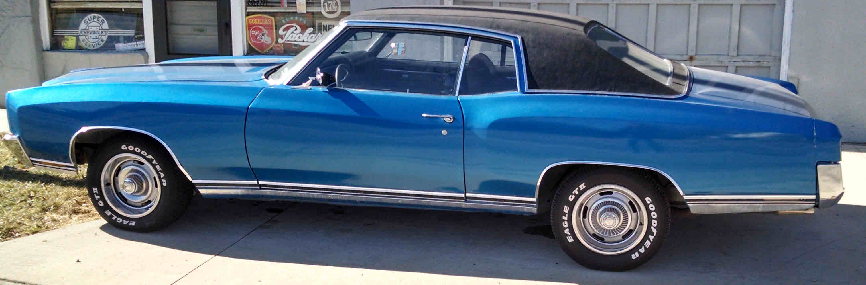 1970 Chevy Monte Carlo Sold Bright Blue Black Vinyl