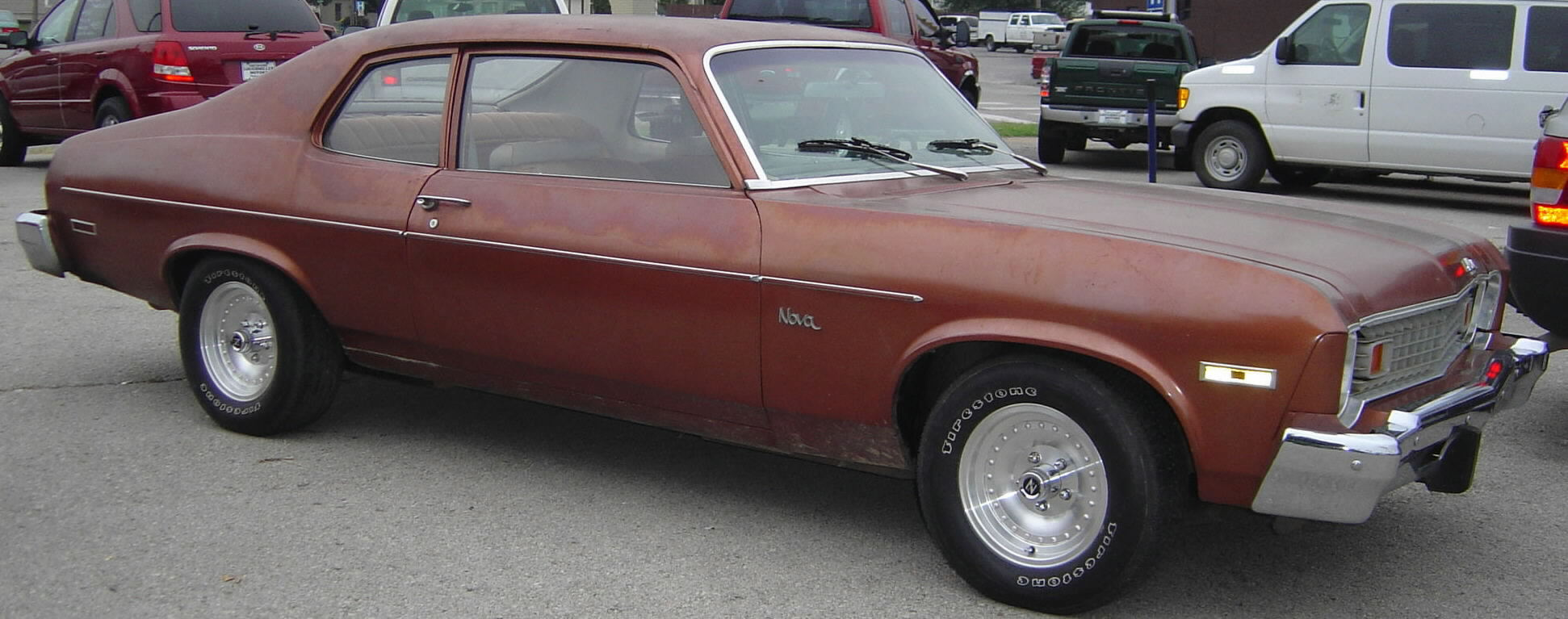 1974 Chevy Nova, SOLD!, maroon, tan cloth interior, in-line 6 cyl, auto, ...
